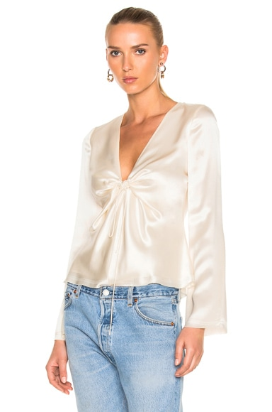 Silk Charmeuse Tie Knot Long Sleeve Top