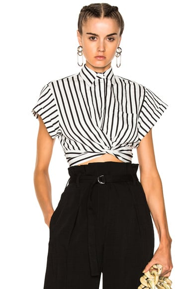Striped Cotton Twist Front Crop Short Sleeve Shirt