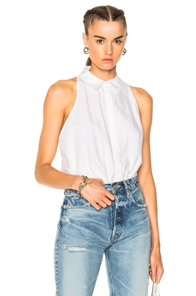 Washed Cotton Poplin Sleeveless Bodysuit