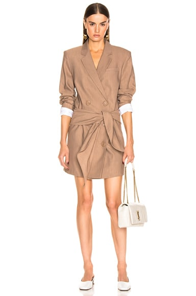 Linen Suiting Blazer Dress With Detachable Tie