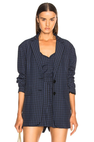 Viscose Gingham Oversized Blazer