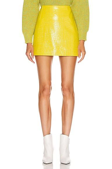 Croc Embossed Patent Mini Skirt