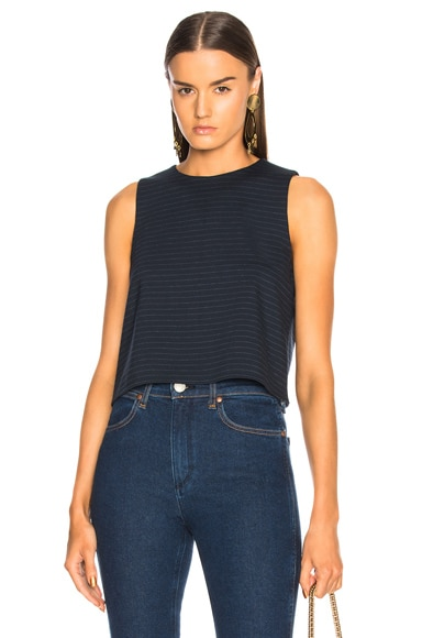 Pinstripe Knit Sleeveless Cropped Top