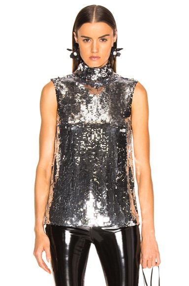 Sequin Turtle Neck Shell Top