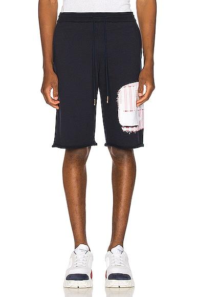 Cut Off Patchwork Sweat Shorts