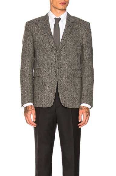 Herringbone Tweed Button Back Blazer