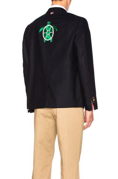 Turtle Icon Embroidery Lightweight Cashmere Blazer