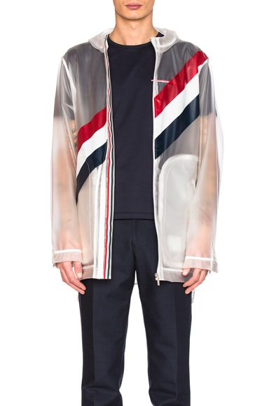 Diagonal Stripe Packable Rain Coat