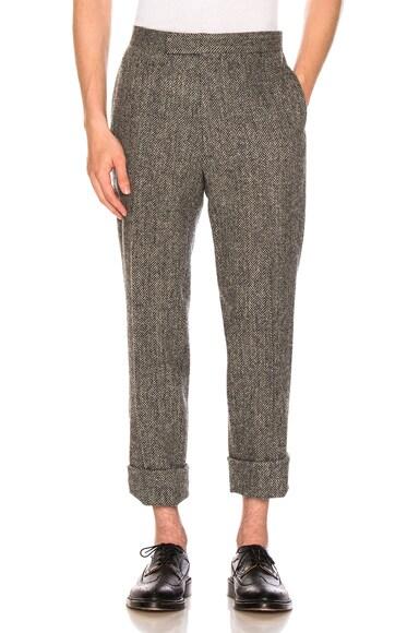 Classic Backstrap Herringbone Tweed Trousers