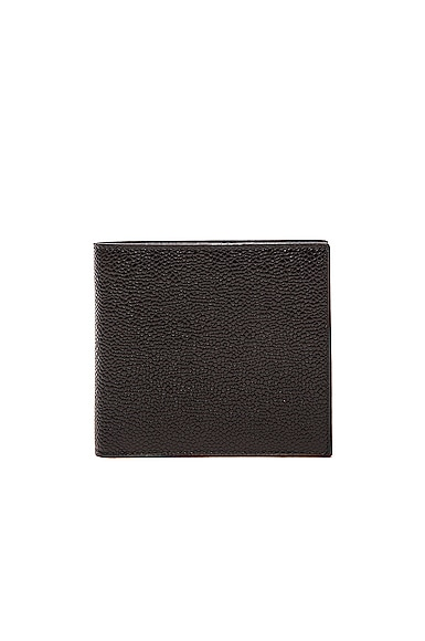 Thom Browne Pebble Grain Leather Bifold Wallet In Black