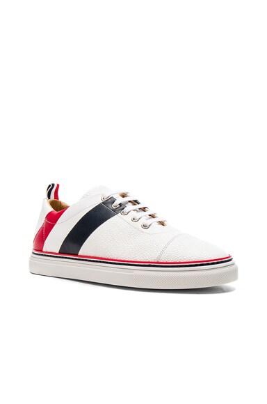 Pebble Grain & Calf Leather Straight Toe Cap Sneakers
