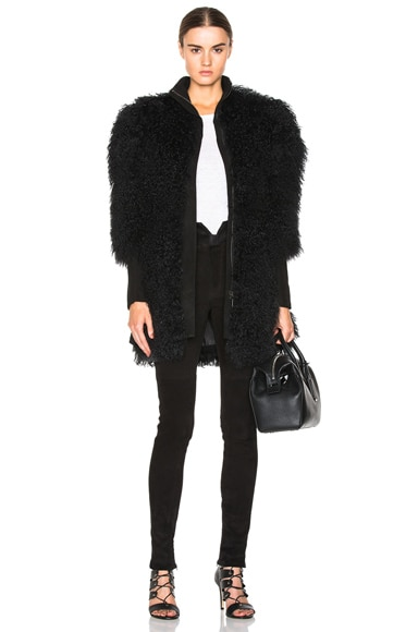 Lamb Shearling Coat with Suede Trim