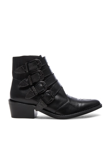 Buckled Leather Booties
