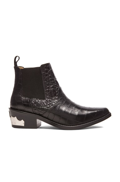 Embossed Buckle Bootie