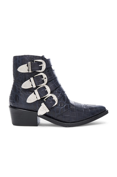 Snakeskin Embossed Buckle Booties
