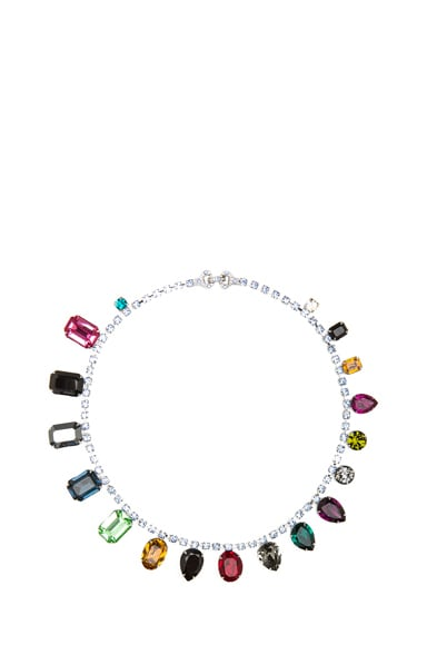 Faux Real Jewel Rhodium Plated Necklace