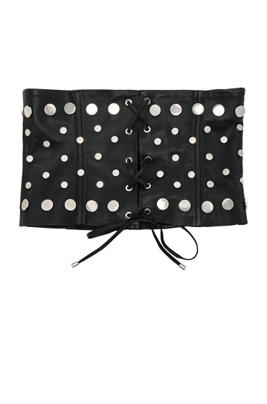 for FWRD Studded Leather Lace-Up Corset Belt
