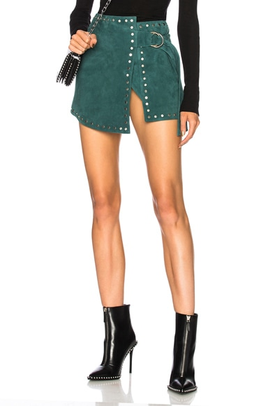for FWRD Suede Wrap Mini Skirt