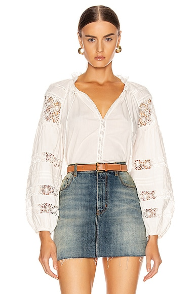 ULLA JOHNSON ULLA JOHNSON GEMMA TOP IN BLANC