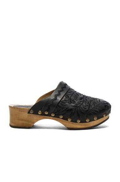 Embroidered Leather Nerimah Clogs
