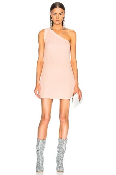 Waffle Knit One Shoulder Dress