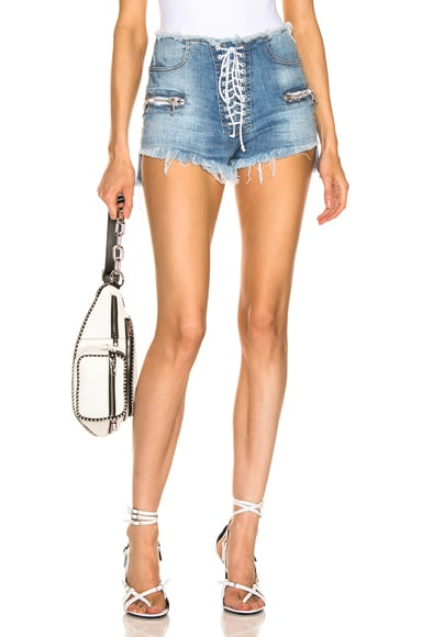 Stonewash Lace Up Denim Shorts