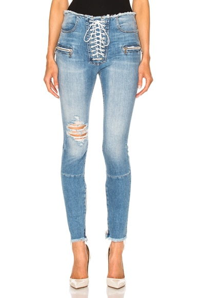 Stretch Denim Lace Up Skinny Jeans