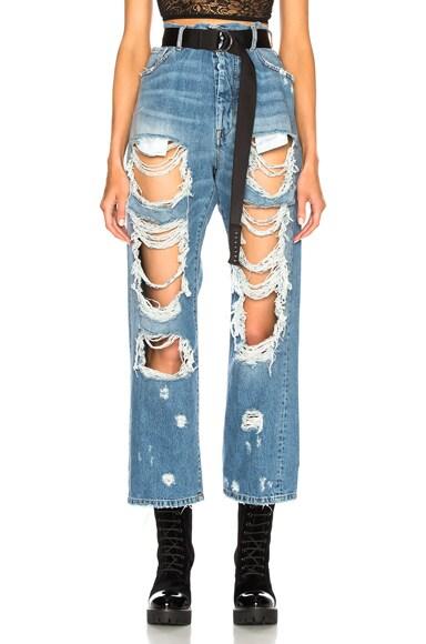 Rigid Denim Destroyed Baggy Boyfriend Jeans