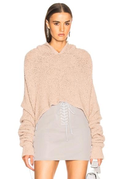 Mesh Cropped Knit Hoodie