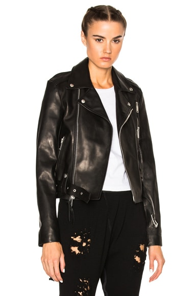 Leather Lace Up Biker Jacket