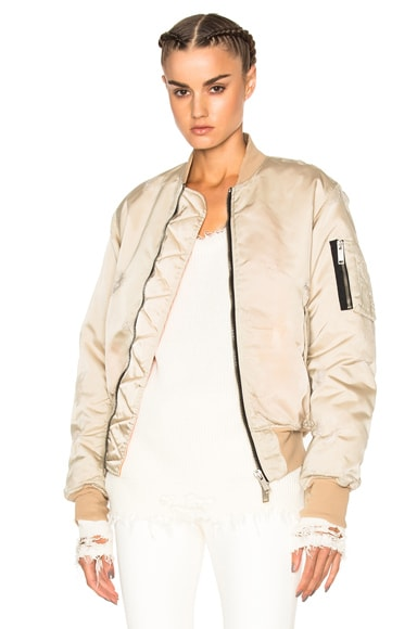 Distress Nylon Bomber