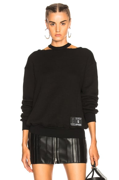 Cotton Cashmere Cut Out Crewneck Sweatshirt