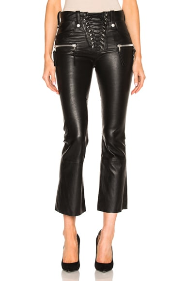 Lace Front Crop Flare Leather Pants