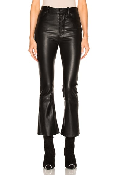 Crop Flare Leather Pants