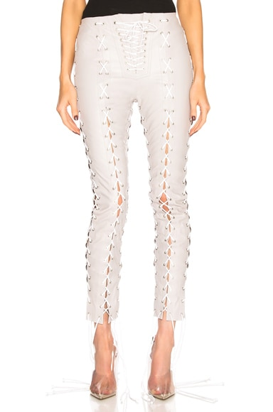 Leather Lace Up Skinny Pants