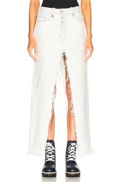 Rigid Denim Deconstructed Long Skirt