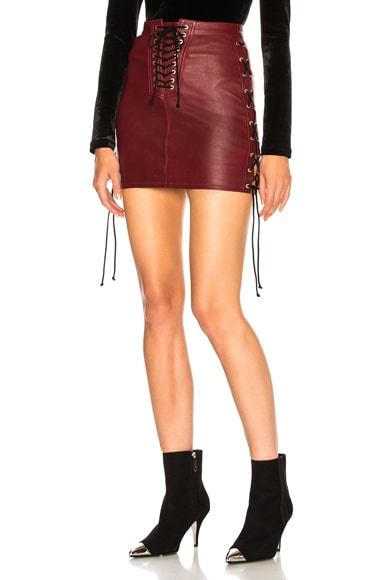 Leather Side Lace Up Skirt
