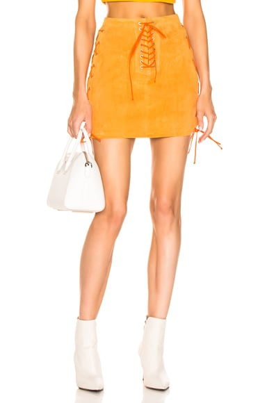 Suede Side Lace Up Skirt