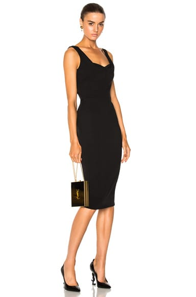 Matte Heavy Rib Jersey Drape Cami Curve Fitted Dress