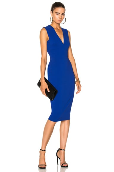 Matte Heavy Rib Jersey Sleeveless V-Neck Fitted Dress