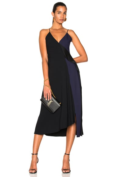 Satin Back Crepe Asymmetric V-Neck Cami Flare Dress