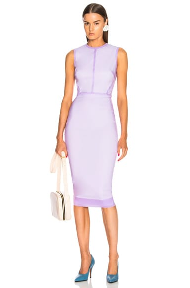 Sleeveless Linear Fitted Midi Dress