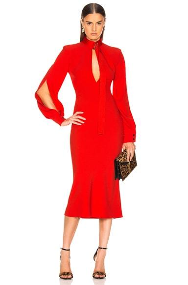 Slash Front Long Sleeve Midi Dress