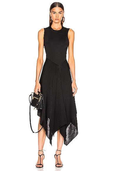 Cross Back Asymmetric Midi Dress