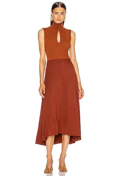 High Neck Sleeveless Midi Dress