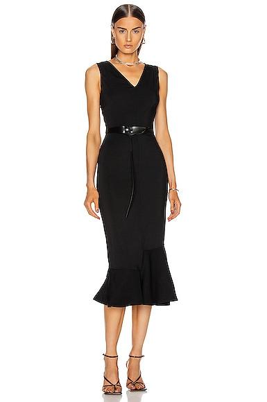 Frill Hem Belted Midi Dress
