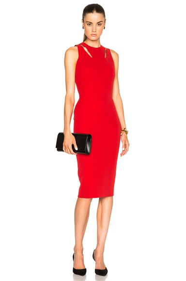 Double Crepe Sleeveless Cut Out Dress