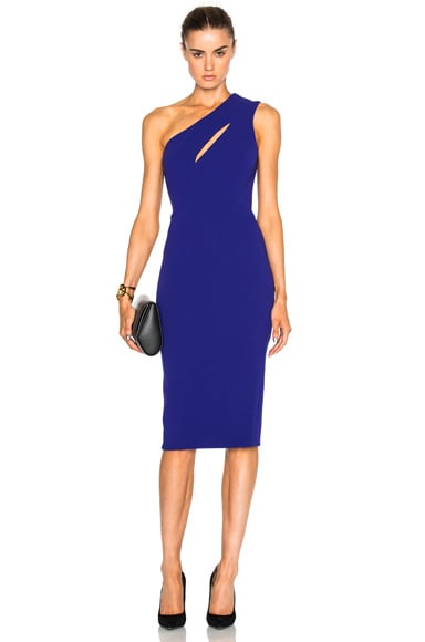Matte Crepe On Shoulder Fitted Cut Out Dress