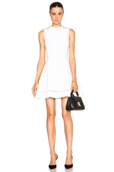 Dense Rib Ajoure Flare Mini Dress