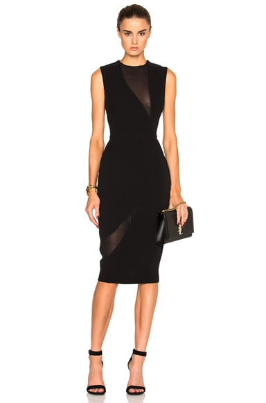 Double Crepe & Georgette Fitted Dress